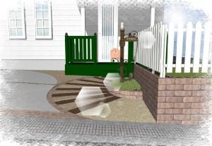 木製玄関ポーチと枕木のアプローチ 提案パース②
