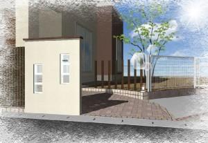 木調アルミフェンスとぬりかべの外構デザイン 提案パース②