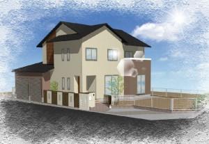 木調アルミフェンスとぬりかべの外構デザイン 提案パース①